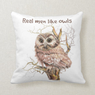 Watercolor Real Men Like Owls Humor Bird Quote Throw Pillow