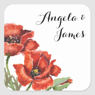 Watercolor Red and Green Poppy Flower Wedding 2 Square Sticker