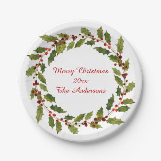 Watercolor Red Berries Holly Merry Christmas Paper Plate