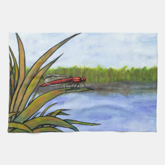 watercolor red dragonfly sitting on grass and lake kitchen towel