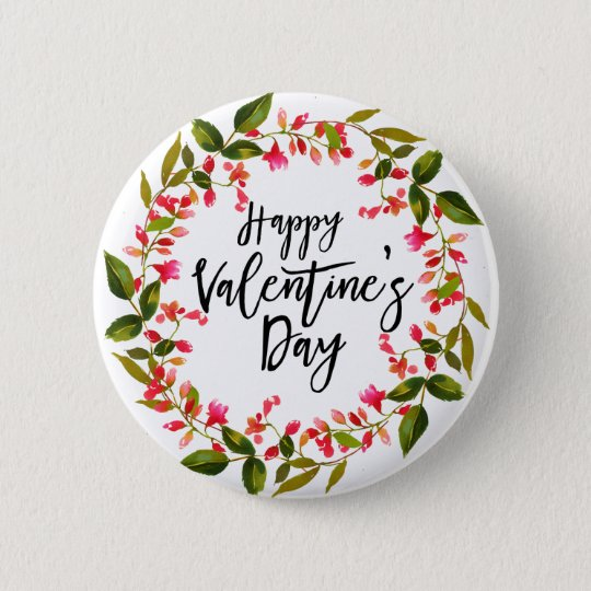 Watercolor Red Floral and Greenery Valentine 6 Cm Round Badge