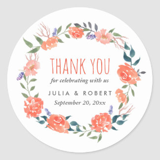 Watercolor Red Floral Wreath | Wedding Thank You Classic Round Sticker