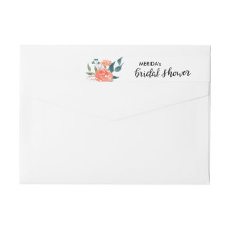 Watercolor Red Flowers Chic Bridal Shower Script Wraparound Return Address Label