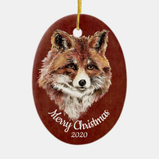Watercolor Red Fox Animal Custom Dated Christmas Christmas Ornament