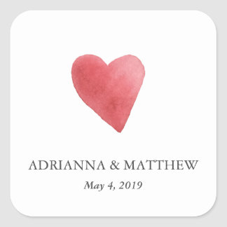 Watercolor Red Heart Boho Wedding Square Sticker