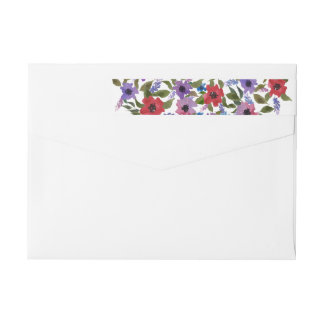 Watercolor Red Lavender Flowers Chic Wrap Around Label