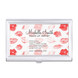 Watercolor red lips pattern makeup branding business card holder