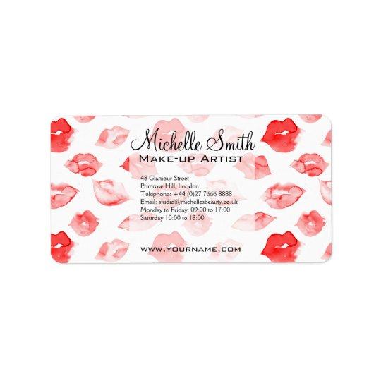 Watercolor red lips pattern makeup branding label