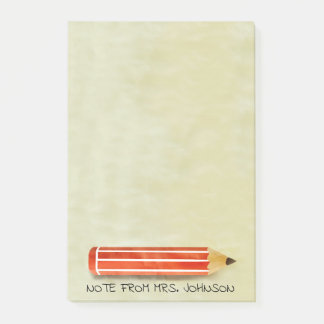 Watercolor Red Pencil Post-it Notes