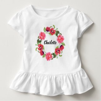 Watercolor Red & Pink Flowers Circle Wreath Design Toddler T-Shirt