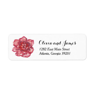 Watercolor Red Pink Rose Return Address Label