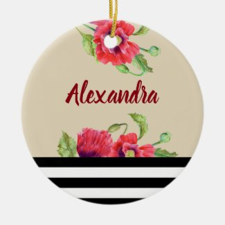 Watercolor Red Poppies Botanical Floral Art Christmas Ornament