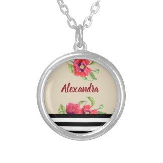 Watercolor Red Poppies Botanical Floral Art Silver Plated Necklace