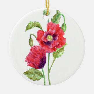 Watercolor Red Poppies Floral Art Christmas Ornament