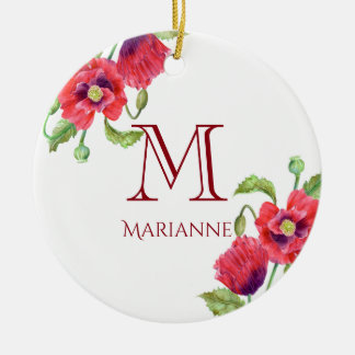 Watercolor Red Poppies Floral Art Monogram Christmas Ornament