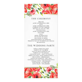 Watercolor Red Poppies Floral Wedding Program Rack Card