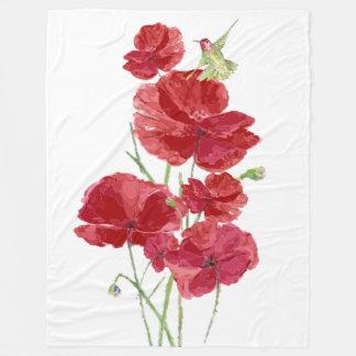 Watercolor Red Poppies Flowers Hummingbird Bird Fleece Blanket
