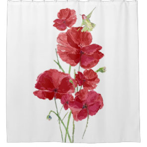 Watercolor Red Poppies Flowers Hummingbird Bird Shower Curtain