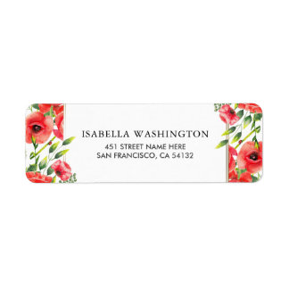 Watercolor Red Poppies Wedding Return Address Label