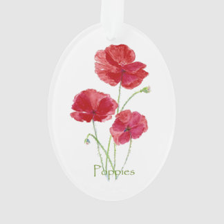 Watercolor Red Poppy Flower Pretty Floral art Ornament
