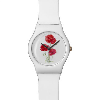 Watercolor Red Poppy Flower Pretty Floral art Watch