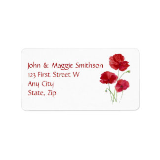 Watercolor Red Poppy Garden Flower Address Label