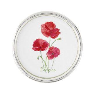 Watercolor Red Poppy Garden Flower art Lapel Pin