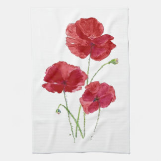 Watercolor Red Poppy Garden Flower Floral art Tea Towel
