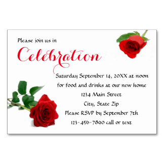 Watercolor Red Rose - Reception Invitation Insert Card