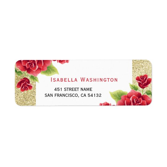 Watercolor Red Roses & Gold Glitter Return Address Label