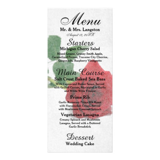Watercolor Red Roses - Reception Menu