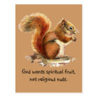 Watercolor Red Squirrel, Funny Quote Postcard