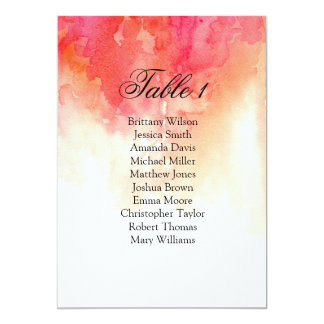 Watercolor red wedding seating chart. Coral plan Card