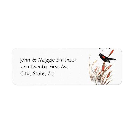 Watercolor Red Wing Blackbird Bird Nature art Return Address Label