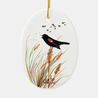 Watercolor Red-Winged Blackbird - Bird Collection Christmas Ornament