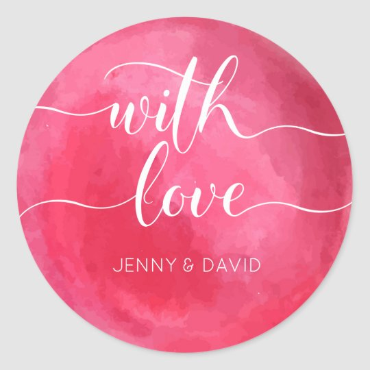 Watercolor red with love wedding classic round sticker