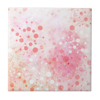 Watercolor Retro 60's Design in Pink Small Square Tile