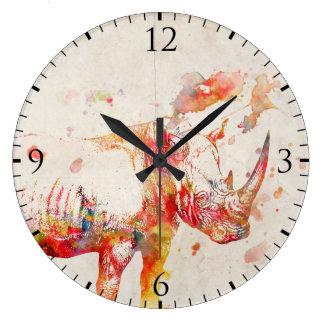 Watercolor Rhino Digital Painting Clocks