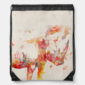 Watercolor Rhino Digital Painting Drawstring Bag