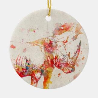 Watercolor Rhino Digital Painting Round Ceramic Decoration