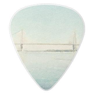 Watercolor River Bridge Charleston South Carolina White Delrin Guitar Pick