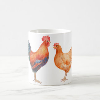 Watercolor Rooster and Hen Chickens Mug