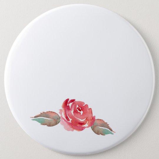 Watercolor Rose 6 Cm Round Badge