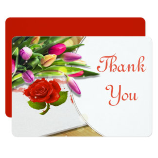 Watercolor rose and Tulip Thank You Card