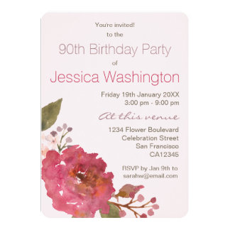 Watercolor Rose Bouquet 90th Birthday Party 13 Cm X 18 Cm Invitation Card