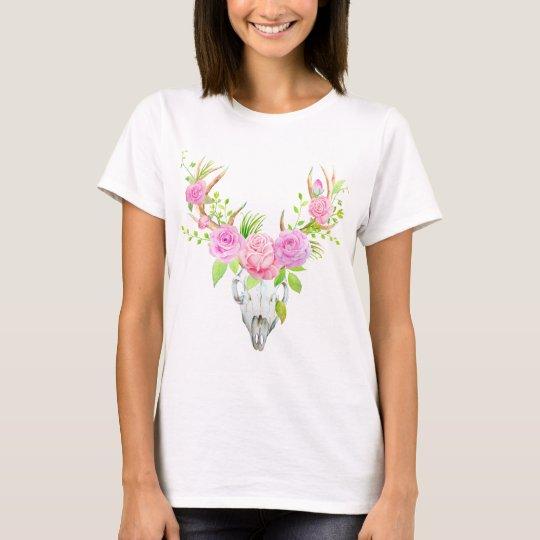 Watercolor Rose Deer Skull Art Print T-Shirt