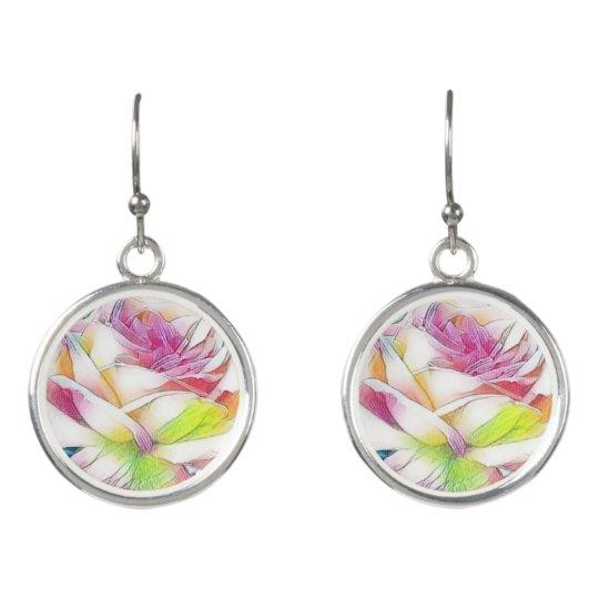 Watercolor Rose Earrings