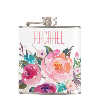 Watercolor Rose Floral with Name Hip Flask
