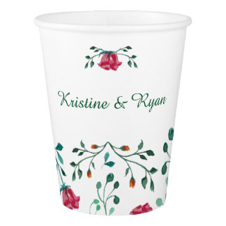 Watercolor Rose Garden Paper Cup