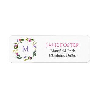 Watercolor Rose Lavender Flowers Wreath Monogram Return Address Label